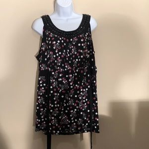 Style & Co Polka dot Floral Tank Too